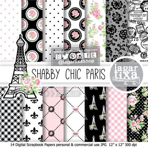 Channel Ceramic Baby Pink shabby chic digital paper pink black roses