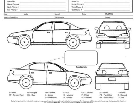 vehicle condition report form template driver vehicle inspection report template and vehicle