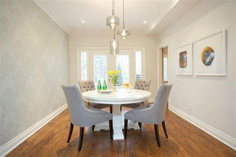wallpaper accent wall dining room dining room with wallpapered accent wall transitional
