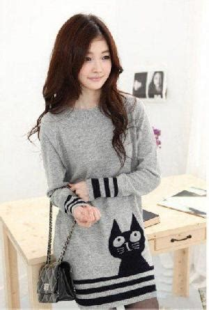 pattern cute korea lovely korean style sweater with pattern of kitty dress