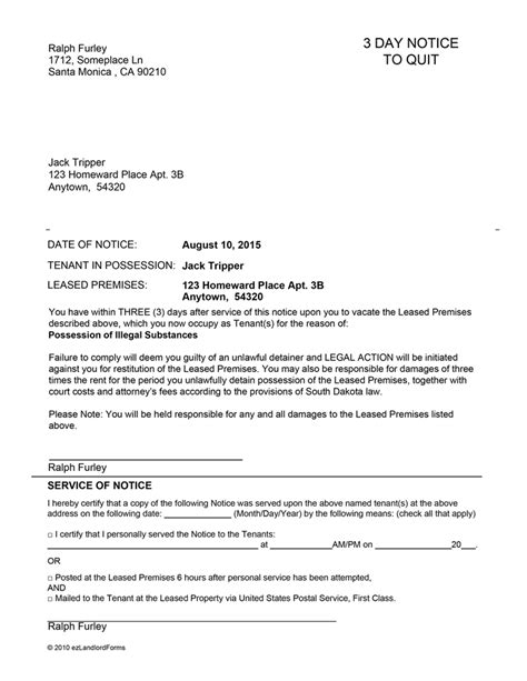 South Dakota 3 Day Notice To Quit Ez Landlord Forms Three Day Notice Template