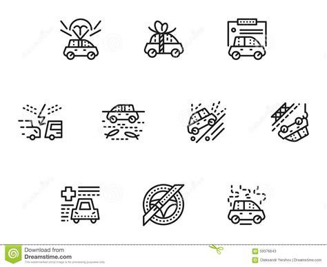 Car Types Enterprise by Car Insurance Simple Line Icons Set Stock Illustration