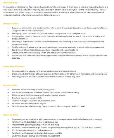 Application Support Description by Application Engineer Description Sle 7 Exles In Word Pdf