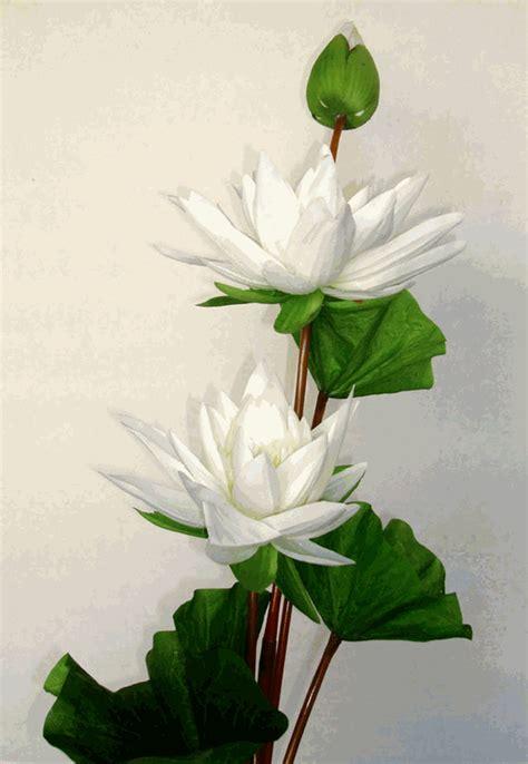 3 lotus white artificial silk flowers stalk