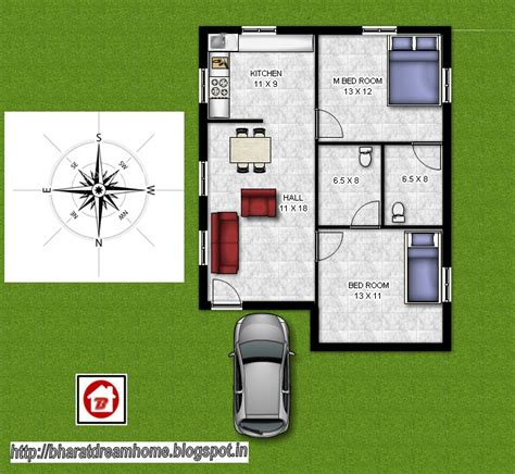 550 Sq Ft House by Bharat Dream Home 2 Bedroom Floorplan 800 Sq Ft North Facing