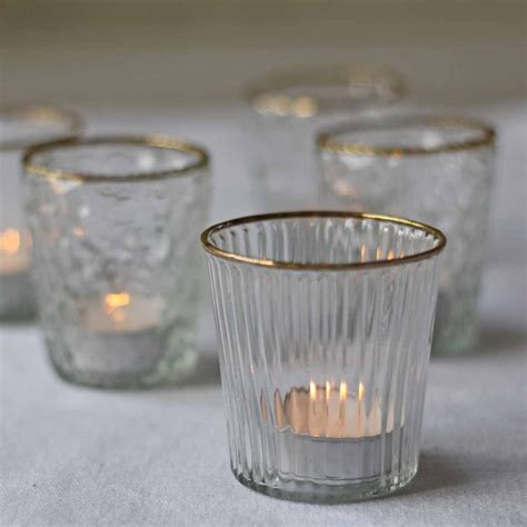 tea light holder ribbed clear glass tea light holder with gold rim the