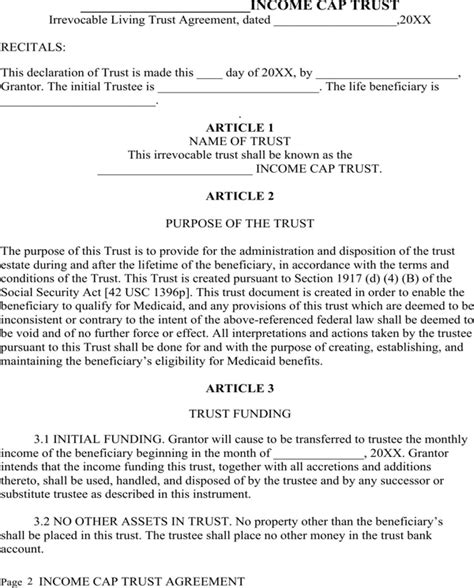Download Irrevocable Living Trust Agreement For Free Page 2 Formtemplate Irrevocable Trust Template