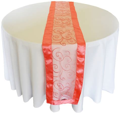 coral swirl embroidered organza wedding table runners