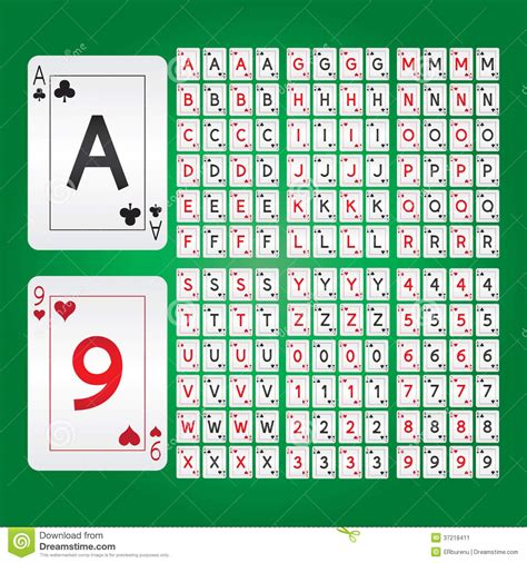 printable alphabet playing cards playing cards alphabet and digit vector stock image