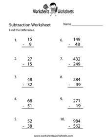 free printable subtraction problems worksheet