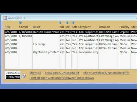 Microsoft Access Work Order Seminar   Build a Service