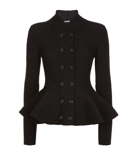 knit peplum jacket mcqueen chunky knit peplum jacket in black lyst