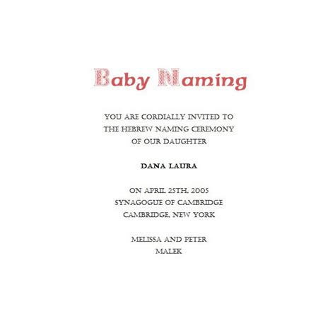 naming ceremony invitations 3 wording free geographics