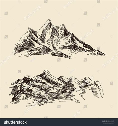 trips of a ranchman sketches of sport on the northern cattle plains classic reprint books alpine mountain landscape sketch drawing stock vector