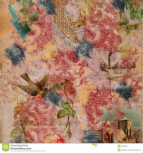 scrapbook painted collage background stock  image