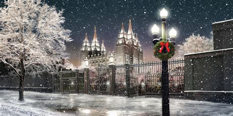 salt lake temple lights painting by brent borup