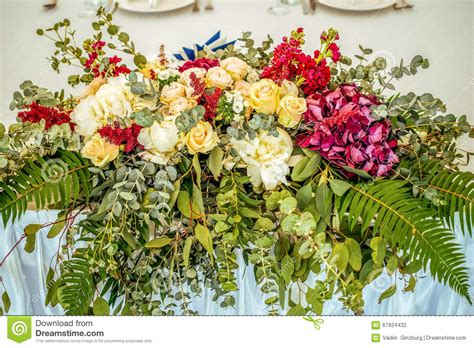 Beautiful Flower Decoration by Wedding Table Beautiful Flower Decoration Stock Photo
