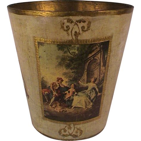 Decoupage Trash Can - vintage florentine wooden trash can waste basket italy