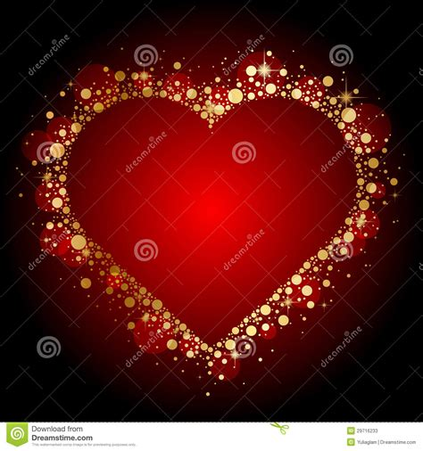 Gold Shiny Heart On Red Background Stock Photos   Image: 29716233