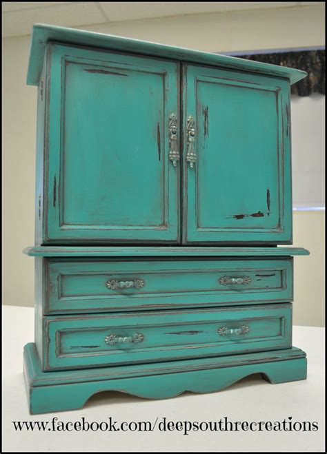 turquoise jewelry box painted with miss lillian s topsy turvey chalk paint mayan turquoise