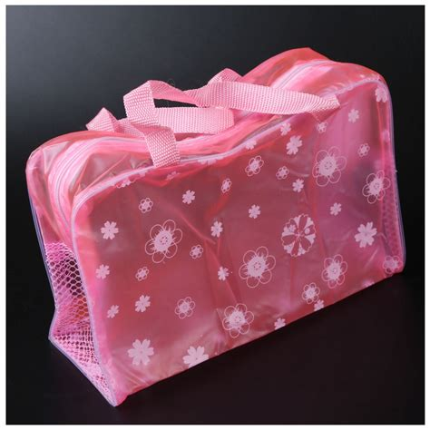 Floral Transparent Toiletry Pouch floral print transparent portable waterproof cosmetic bag