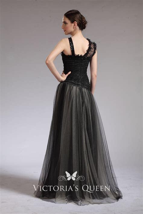 asymmetrical shoulder straps black long prom dress vq