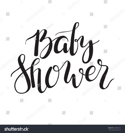 String Font - baby shower text custom lettering invitation stock vector