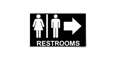 Wall Art Stickers For Living Room restroom sign arrow rectangular sticker zazzle