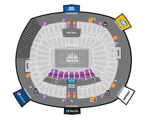 metlife stadium parking map seating maps