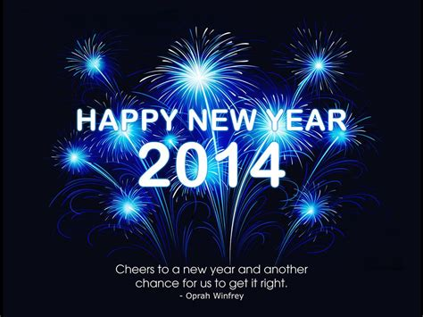 free happy new year 2014 blue fireworks animation hd wallpaper