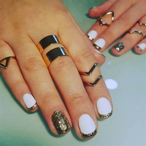 white gold with glitter tips nails 55 stylish white and gold nail art design ideas
