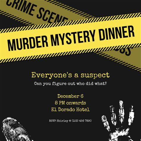template murder mystery card yellow murder mystery invitation templates by canva