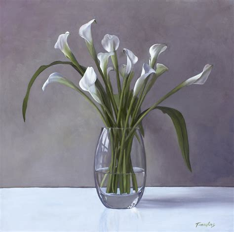 Lilies In A Vase by Calla Lilies In A Vase Painting By Tenukas