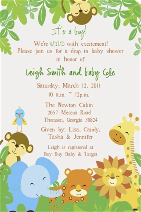 Safari Baby Shower Invitations Template Cimvitation Safari Invitation Template Free