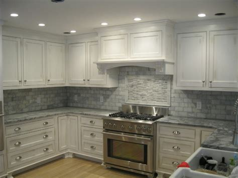 Marble Tile Backsplash Kitchen White Marble Backsplash Traditional Kitchen Boston