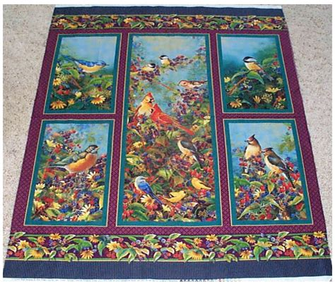 birds garden wings fruit quilt top panel fabric flowers berries ebay
