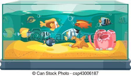 aquarium design eps cartoon freshwater fishes in tank aquarium vector