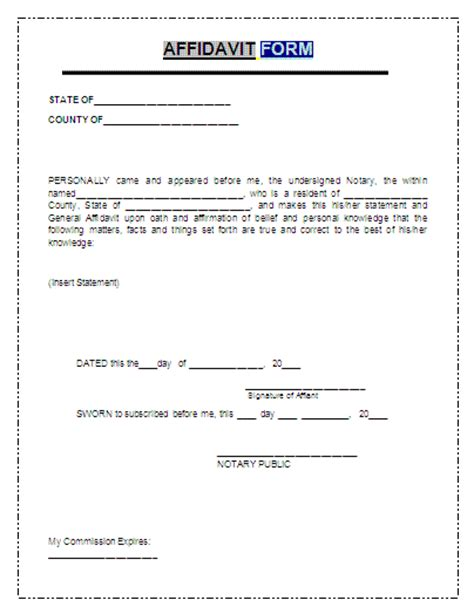 affidavit form a to z free printable sle forms