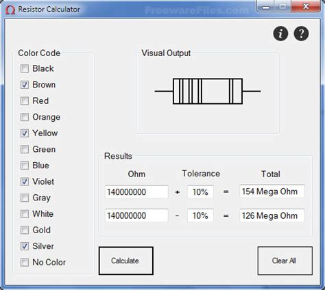 graphical resistor calculator software n2r resistor calculator 1 0 screenshot freeware files