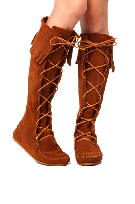 knee high fringe boots minnetonka knee high fringe boot in brown in brown lyst