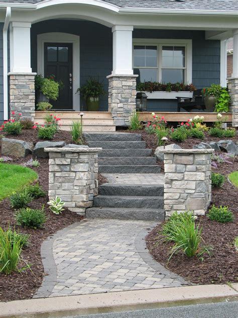paver walkway natural stone steps  flanking pillars