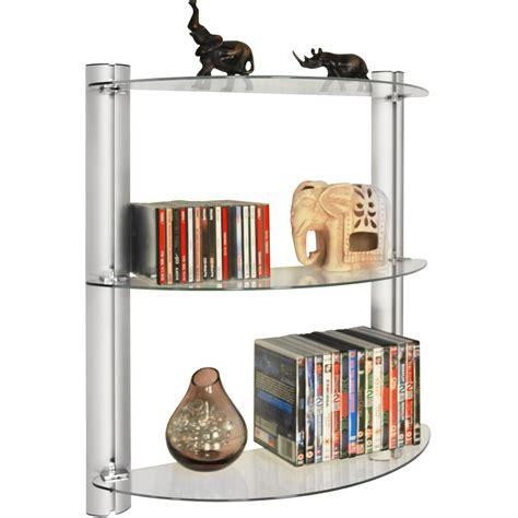 wall display shelves maxwell 3 tier glass wall storage display shelves