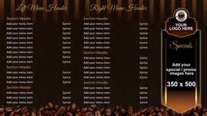 Home Menu Board Design Coffee Shop Menu Board Onelan Digital Signage Layout