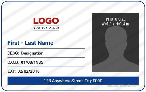 free photo id card template 5 best office id card templates ms word microsoft word