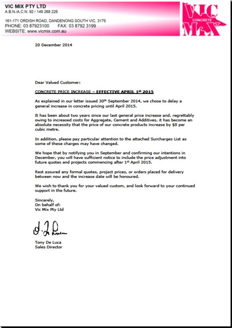 Official Rent Increase Letter Rate Increase Letter Levelings