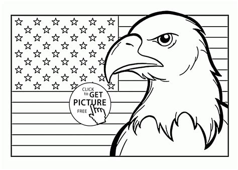 american flag to color american flag and eagle fourth of july coloring page for