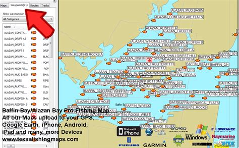 fishing maps texas baffin bay on world map images