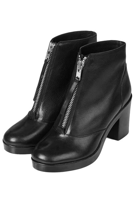 topshop magic front zip boots in black lyst
