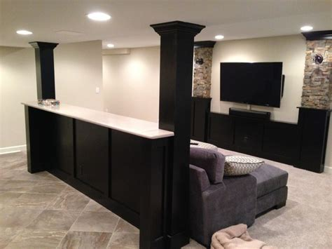 half wall bar top basement built in cabinets and bars