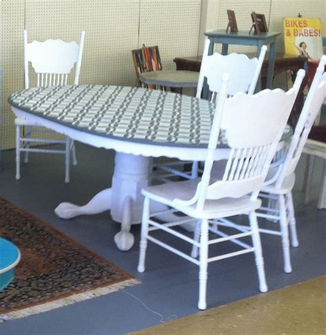 Painted Table And Chairs by Oak Table And Pressed Back Chairs Stray Furniture Redeux